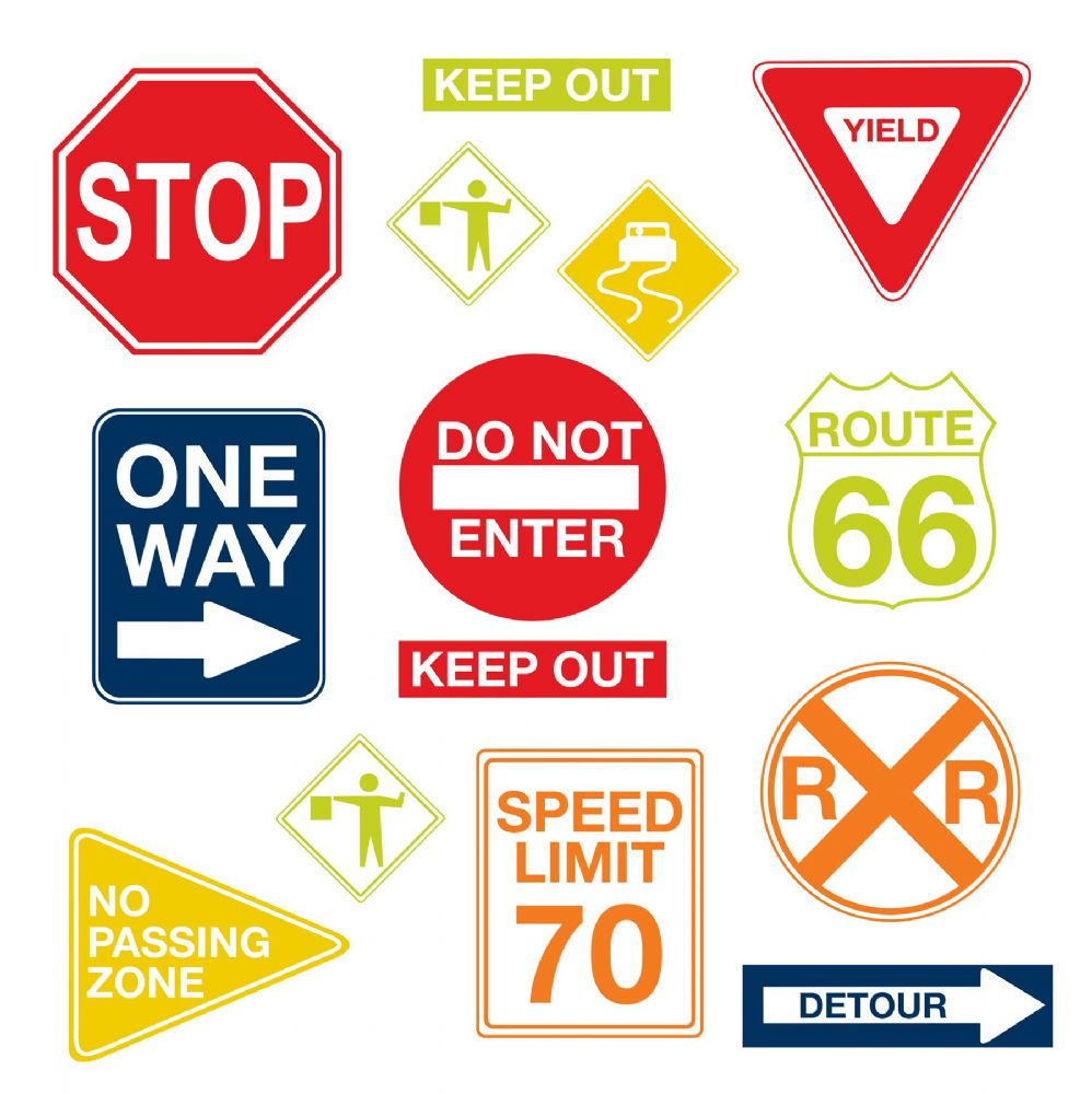 Road Sign Wall Art Sticker Kit
